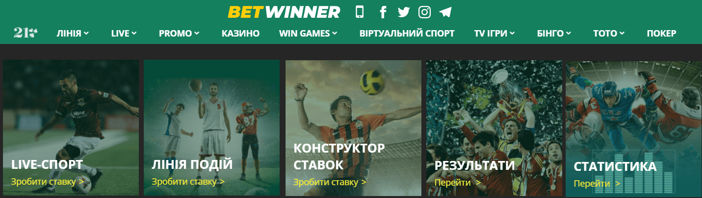 ставки на спорт Украина betwinner