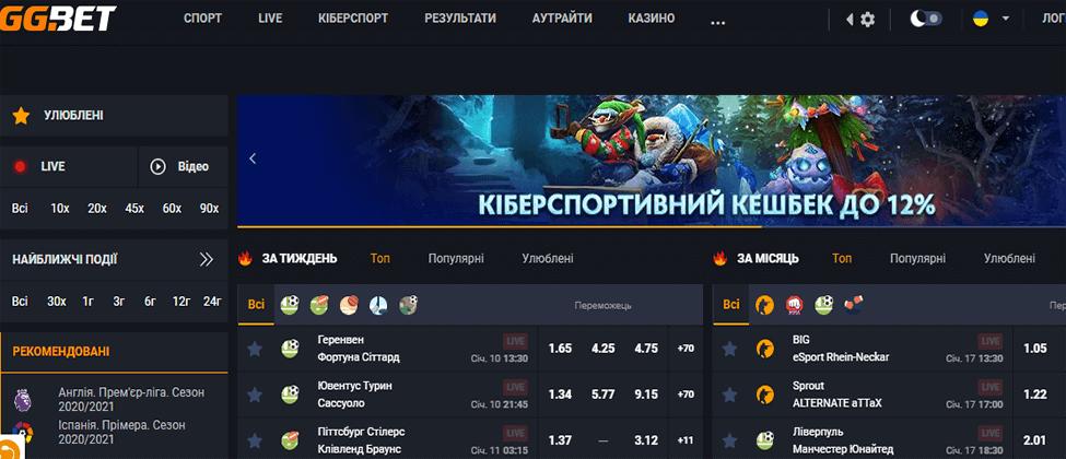 Дизайн, структура и пользовательский интерфейс веб-сайта GG.bet Украина